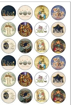 £1.95 • Buy 24 PRECUT Religious Christian Christmas Edible Wafer Paper Cupcake Cake Toppers