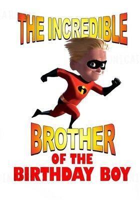 :::the Incredibles Brother Of The Birthday Boy:::fabric/t-shirt Iron On Transfer • 2.15£