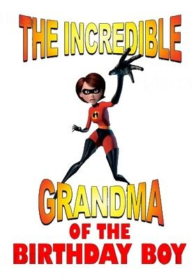 :::the Incredibles Grandma Of The Birthday Boy:::fabric/t-shirt Iron On Transfer • 2.15£