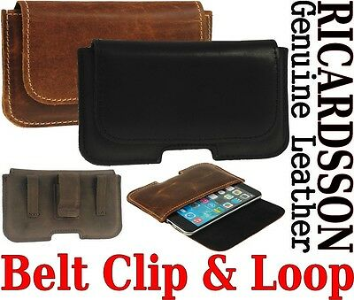 £14.89 • Buy Belt Clip & Loop Holster Ricardsson Real Leather Pouch Case For Samsung Phones
