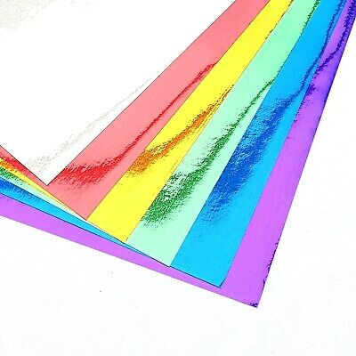10 X A4 Shiny Mettalic Mirror Paper Peel & Stick Sticky Backed Sheets Cardmaking • 3.29£