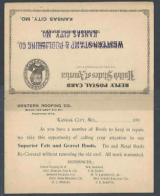 Ca 1894 Western Roofing Co Kansas City Mo Does Felt & Gravel Roof Repairs • 9.82£