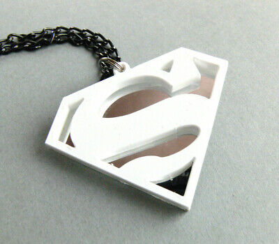 £13 • Buy Superman Necklace Laser Cut White And Mirror Plastic