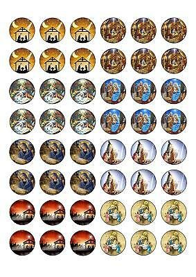 £1.99 • Buy 48 Round Edible Traditional Religious Christmas Wafer Paper Cupcake Cake Toppers