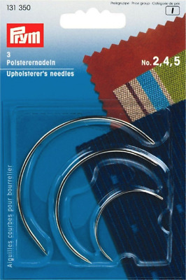 £3.19 • Buy 3 X PRYM UPHOLSTERY CURVED HAND SEWING NEEDLES Size No. 2, 4, 5 (131350)