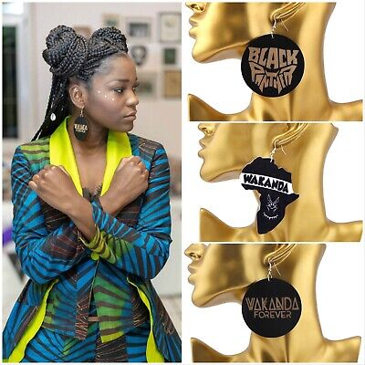 £3.99 • Buy New African Woman Black Panther Marvel Comic Wakanda Forever Wooden Earrings