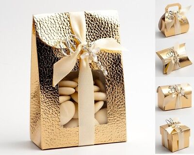 £1.32 • Buy Pelle Gold Wedding Favour Boxes - Luxury DIY Party Christmas Gift. Box Only