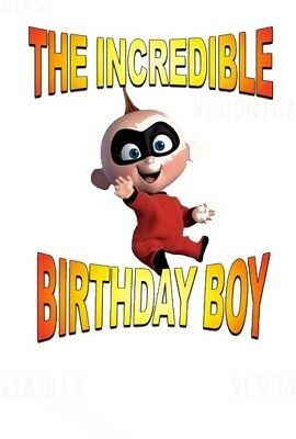 :::THE INCREDIBLES THE BIRTHDAY BOY:: Baby Jack Jack T-SHIRT IRON ON TRANSFER55 • 2.15£