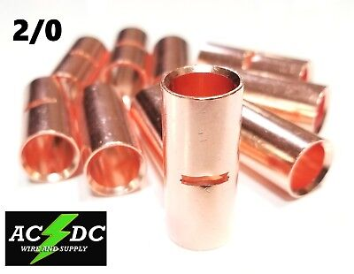 AU9.05 • Buy 2/0 Gauge Bare Copper Butt Connector 2 Pk Crimp Terminal Awg Battery