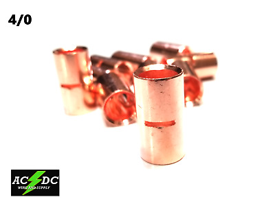 AU25.89 • Buy 4/0 Gauge Bare Copper Butt Connector 10 Pk Crimp Terminal Awg Battery