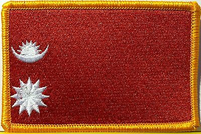 Nepal Flag Patch With VELCRO Brand Fastener Gold Emblem • 9.04£