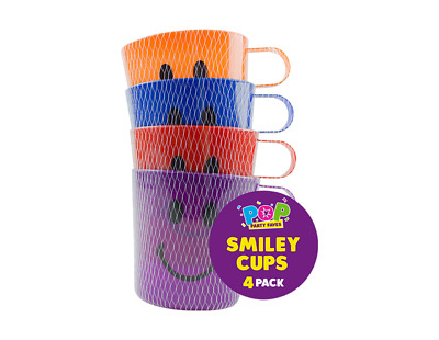 4 X CHILDREN KIDS PLASTIC SMILEY FACE MUGS CUPS WITH HANDLE FUN TRAVEL HOME • 4.99£