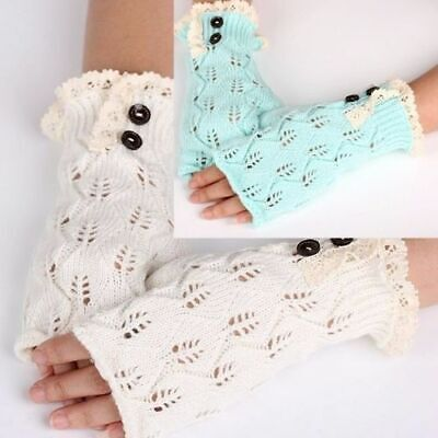 £7.21 • Buy Fingerless Gloves Crocheted Lace Open Fingertip Cable Knit Gray Green Ivory New