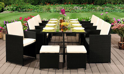 13pc Rattan Garden Furniture Cube Set Chairs Sofa Table Outdoor Patio • 9,999.99£