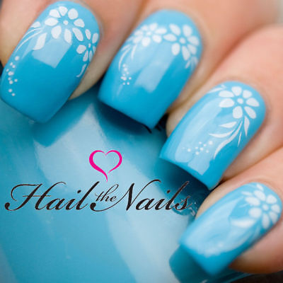 Nails WRAPS Nail Art Water Transfers Stickers Decals White Flower Roses #008 • 1.99£