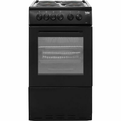 £169 • Buy Beko AS530K Free Standing A Electric Cooker With Solid Plate Hob 50cm Black New