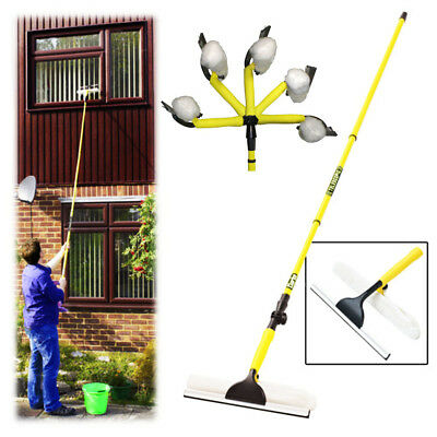 New Telescopic Window Cleaner Extendable 3.5M Cleaning Brush Wash Head Squeegee  • 13.99£
