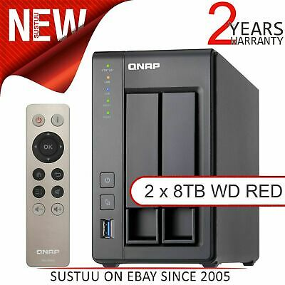 QNAP 2 Bay Desktop NAS Unit│16TB WD RED Hard Drives│Storage Device With 2GB RAM • 935.87£