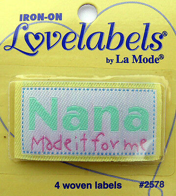 NANA MADE IT Woven Labels (Qty-4) Iron-On/Sew-In (Ref 2578) • 2.95£