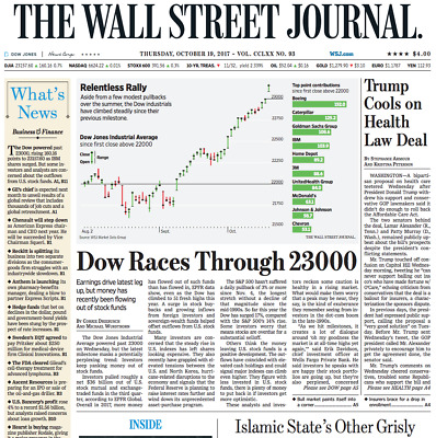 $10 • Buy Dow 23000 | The Wall Street Journal - Thu., Oct. 19, 2017