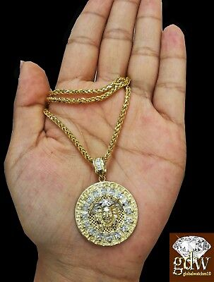 £612.83 • Buy  Real 10K Yellow Gold 30 Inch Palm Chain With Medusa Head Charm/Pendant, Rope N