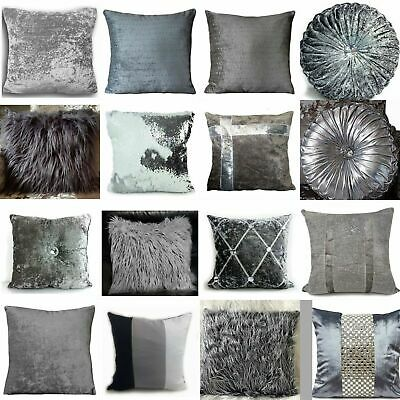 Cushion Cover Or Cushions Crush Velvet Fur Diamante Various Designs Silver17x17  • 10.99£
