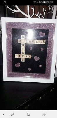 Scrabble Art Personalised Picture Frame Choose Your Words • 15£