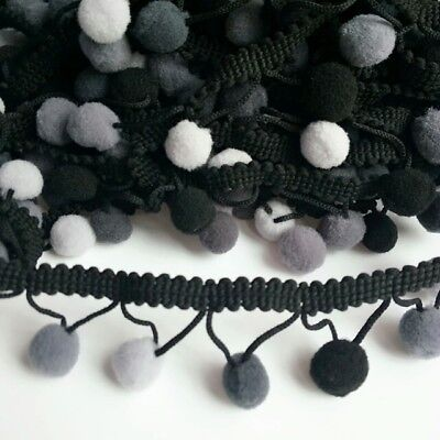 Rainbow Pom Pom Trim, Baby 15mm Fringe, Bobble Ribbon, Shade Of Grey Colour • 2.75£
