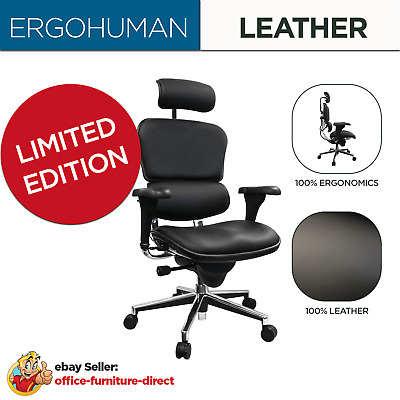 AU897 • Buy *NEW* Ergohuman 100% Genuine Leather Ergonomic Mesh Office Computer Home Chair