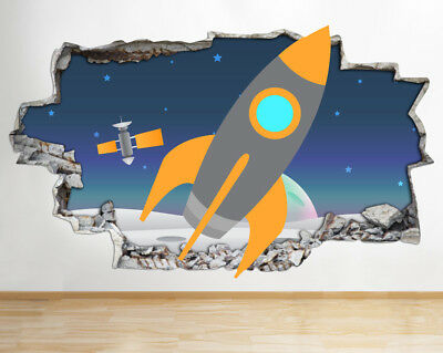 Wall Stickers Kids Space Ship Stars Planet Smashed Decal 3D Art Vinyl Room AA020 • 22.99£