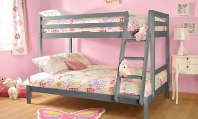£189.99 • Buy Triple Wooden Bunk Bed In Grey 3ft & 4ft With Mattress Options - Durleigh