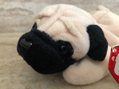 9e6e7e6086d Ty PUGSLY The Pug Dog PVC 8 Beanie Baby 1996 MWMT Rare With Tag Errors •