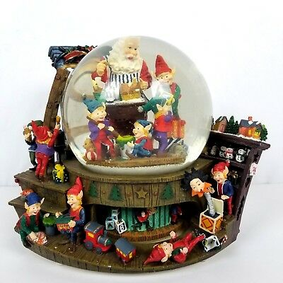 christmas snow globe large santa with elves workshop present music vintage - Large Christmas Snow Globes