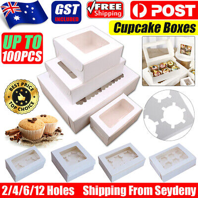 AU20.78 • Buy Cupcake Box Cases 2 Hole 4 Hole 6 Hole 12 Hole Window Face Cases Party Wedding