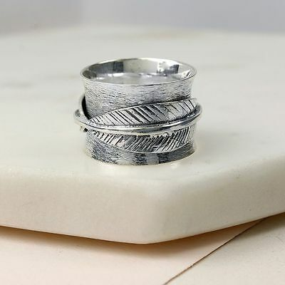 £32.99 • Buy Spinner Ring Sterling Silver Band Feather Thumb Finger Spinning Motion Ring