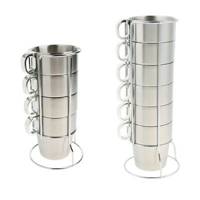 £25.35 • Buy Stackable Coffee Mugs Stainless Steel Tea Water Wine Glasses Cups With Rack