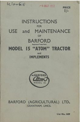 AU25.73 • Buy Barford Atom 15 Tractor And Implements Operators Manual