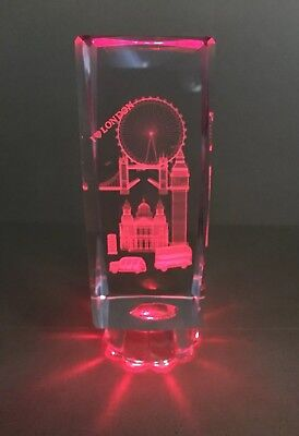 London  Crystal Glasses Souvenir Gift With Led Light Height 14cm • 11.99£