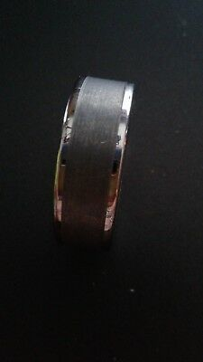 $74.99 • Buy Men's Tungsten Carbide And Ceramic Ring, 8mm Wedding Band