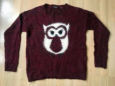 Girls NEW LOOK Jumper Age 12-13 Red & Black Owl • 4.99£