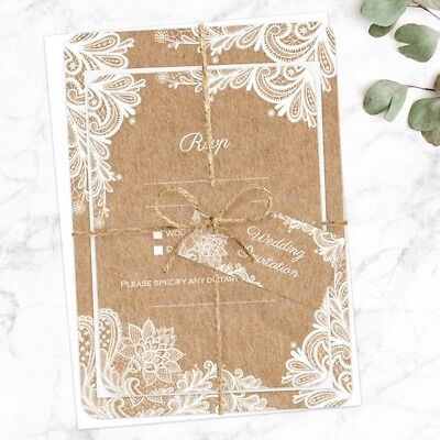 Rustic Lace Pattern - Wedding Invitations & RSVP - Pack Of 10 • 9.50£
