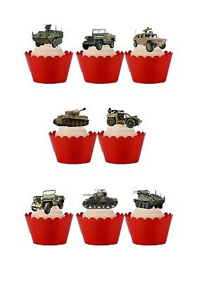 $2.74 • Buy 18 Stand Up Military Army Vehicles Tanks Jeeps Edible Wafer Paper Cake Toppers