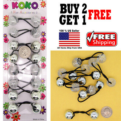 $4.98 • Buy Silver Glitter Braid Girl Kid Scrunchie Beads Hair Tie Ball Ponytail Holder Band