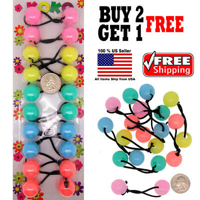 $4.98 • Buy Pastel Colors Braid Girl Kids Scrunchie Beads Hair Tie Ball Ponytail Holder Band