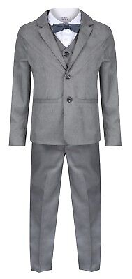 Baby Boys Toddler Suits Grey 5 Piece Boys Wedding Suit Page Boy Party Prom • 13.95£