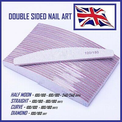 100/180/240 Grit Nail Files Professional Quality Half Moon/curved/diamond Buffer • 4.25£
