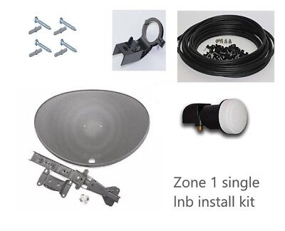 Zone 1 Satellite Dish & Single LNB With 10m Cable KIt For SKY HD Or FREESAT  • 23.99£