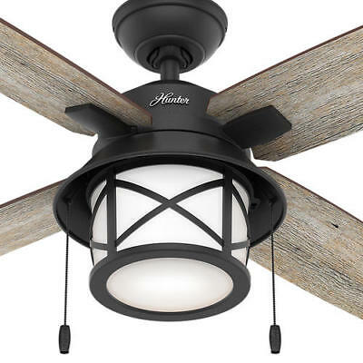 $278.99 • Buy 52  Natural Iron Rustic Blade Ceiling Fan Damp Rated Transitional LED Bowl Light