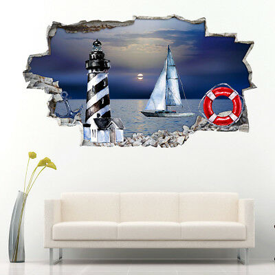 J302 Nautical Boat Lighthouse Hall Wall Stickers Bedroom Girls Boys Living Kids • 44.49£