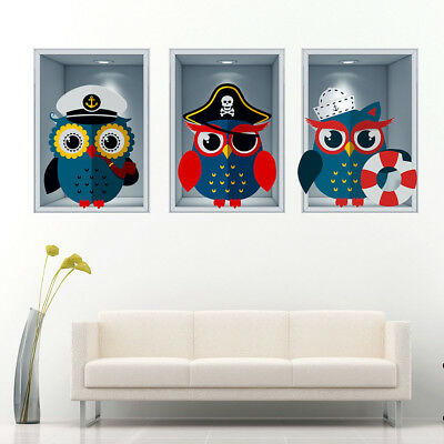 J267 Pirate Owls Nautical Kids Boys Wall Stickers Bedroom Girls Boys Living Kids • 10.49£